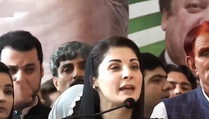 PML-N Vice President Maryam Nawaz addressing a rally in Azad Jammu and Kashmirs Chattar Klas village, on July 8, 2021. — YouTube/HumNewsLive