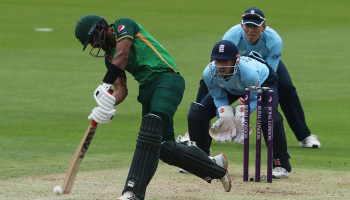 Pakistans Hasan Ali plays a shot during the first One Day International cricket match between England and Pakistan at Sophia Gardens stadium in Cardiff, Wales on July 8, 2021. — AFP