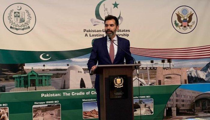 State Bank of Pakistan Governor Dr Reza Baqir introducing the Roshan Digital Initiative at the Pakistan embassy in Washington DC, US. Photo: Twitter/ Asad M Khan