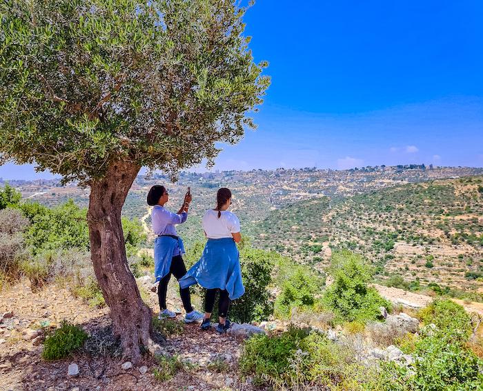 Travel bloggers Malak Hassan and Bisan Alhajhasan visit a village near Ramallah called Jifna.Photo: Courtesy Ahlan Palestine
