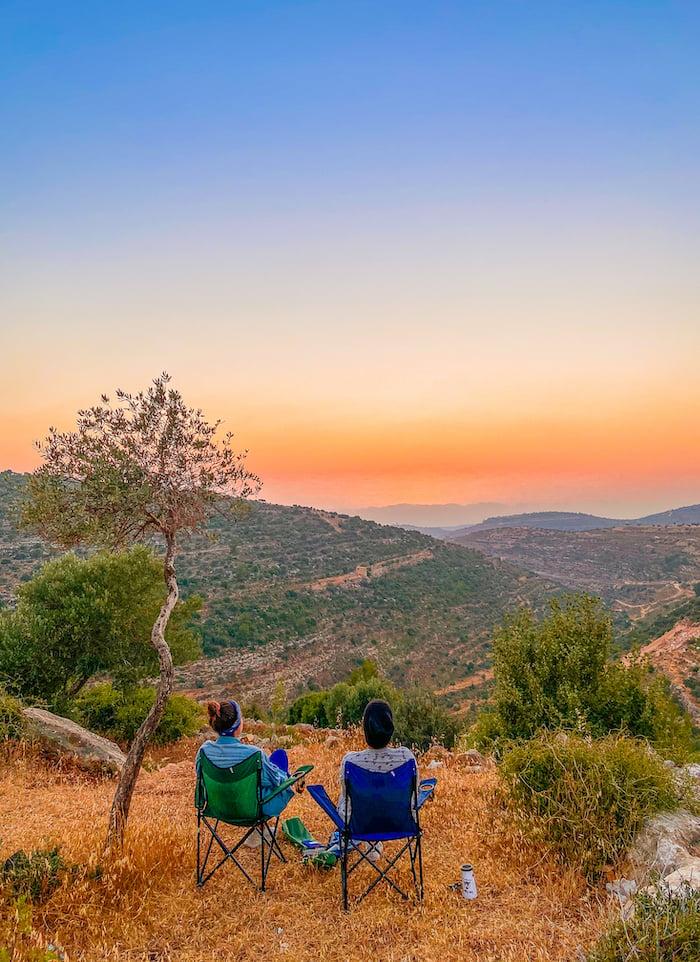 Travel bloggers Malak Hassan and Bisan Alhajhasan visit Al Tira neighbourhood and its surroundings - an amazing destination to enjoy a good sunset. Photo: Courtesy Ahlan Palestine