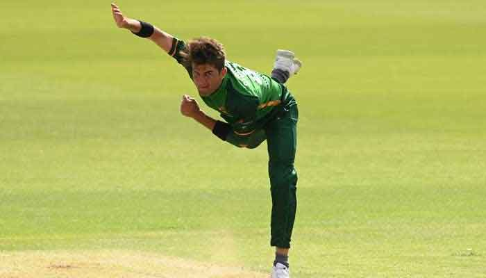 Pakistan pacer Shaheen Shah Afridi is seen bowling a delivery in this photo courtesy ICC.