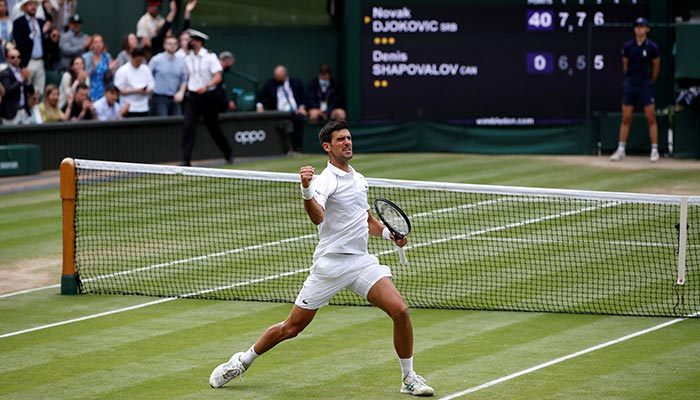 All England Lawn Tennis and Croquet Club, London, Britain - July 9, 2021 Serbias Novak Djokovic celebrates winning his semi final match against Canadas Denis Shapovalov. — Reuters/File