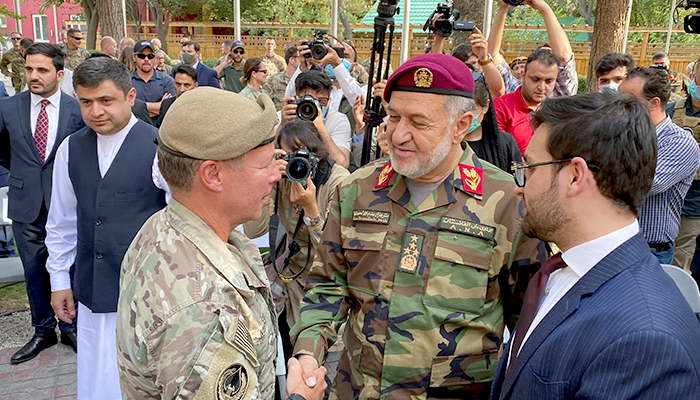US General Austin Miller, (L) shakes hand with Afghan Defense Minister Bismillah Khan Mohammadi, at a ceremony in Kabul, as Miller relinquishes command during the final phase of America?s withdrawal from the war in Afghanistan July 12, 2021. — Reuters/File