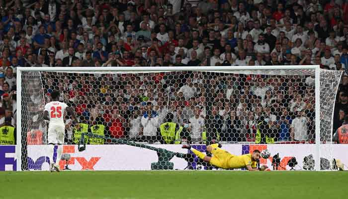 Englands Bukayo Saka has his penalty saved during a penalty shootout in his teams Euro 202 Final against Italy. Photo: Reuters