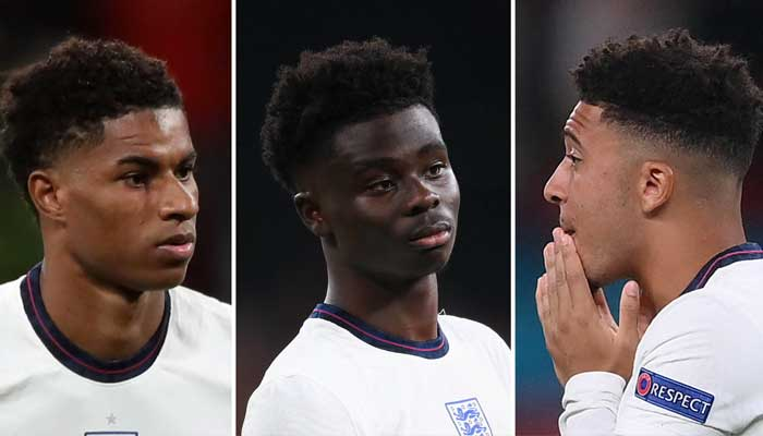 (L-R) England footballers Marcus Rashford, Bukayo Saka, and Jadon Sancho.