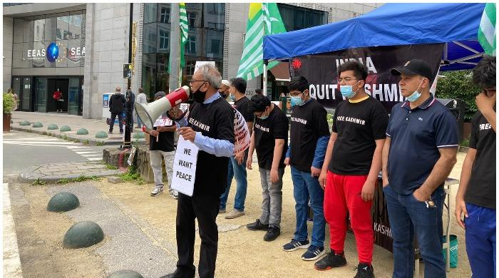Kashmiris stage protest in front of EU foreign ministry and parliament