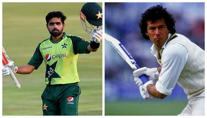 Former and current Pakistan captains Babar Azam (L) and Imran Khan (R). File photo
