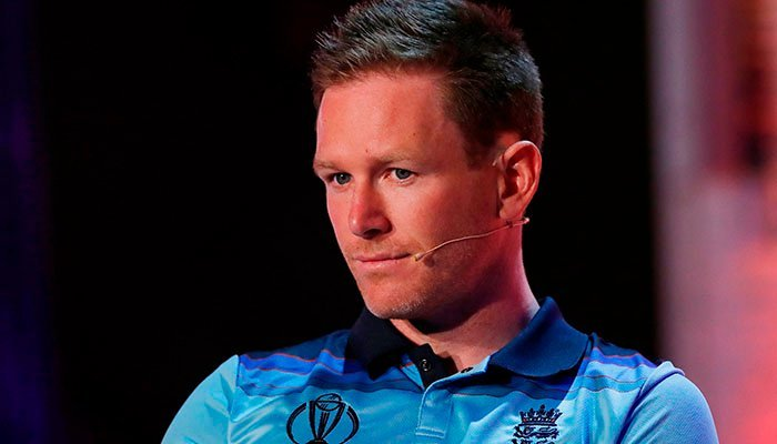 England´s Eoin Morgan takes part in a captains press conference ahead of the 2019 ICC Cricket World Cup in London on May 23, 2019. Photo: AFP