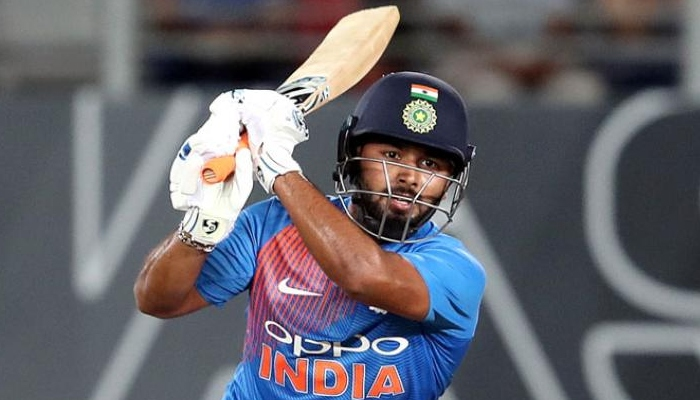 Indian cricketer Rishab Pant plays a drive during an ODI match. Photo: AFP