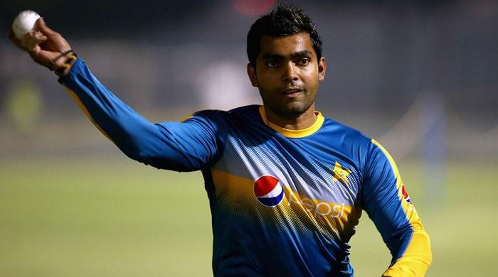 Pakistan cricketer Umar Akmal gestures during a training session. Photo: File