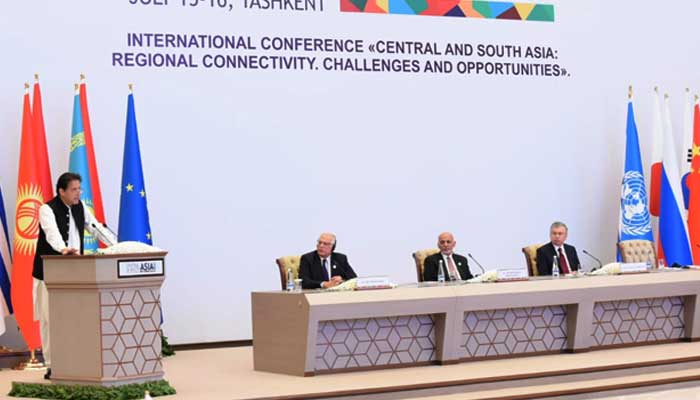PM Imran Khan addresses Central and South Asia Conference in Tashkent. -APP