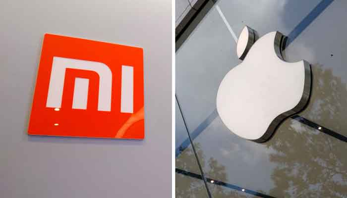 A combination photo showing Xiaomi logo (L) and the Apple logo. — Reuters
