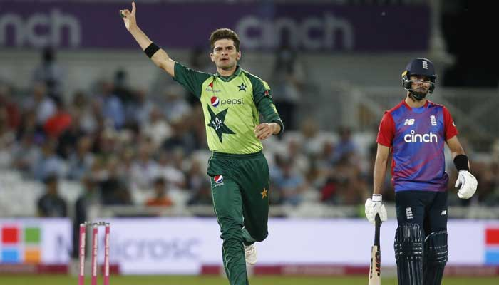 Pakistans Shaheen Afridi celebrates after taking the wicket of Englands Matt Parkinson to win the first T20 match. -Reuters