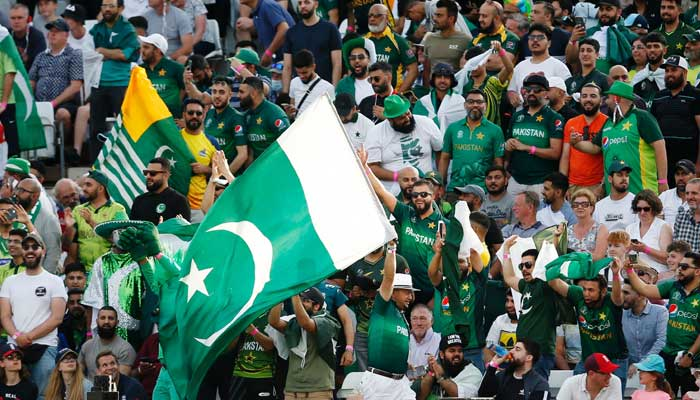 Pakistan fans in the stands during the match.