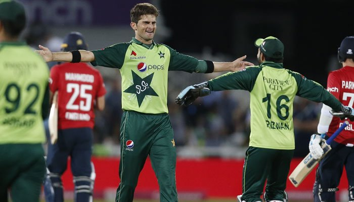 Shaheen Afridi celebrates after taking a wicket during first T20 against England.