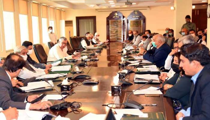 Minister for Finance and Revenue Shaukat Tarin chairs the meeting ofthe Economic Coordination Committee (ECC) of the cabinet. -APP