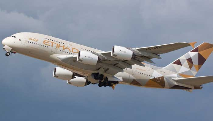 A plane of Etihad airline.