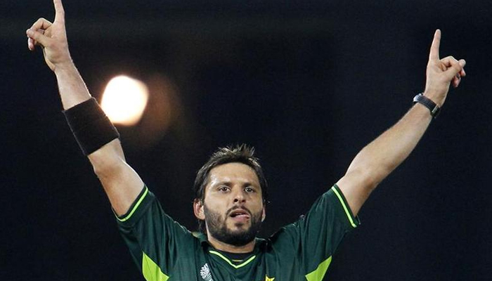 Shahid Afridi celebrates taking the wicket of Canadas Rizwan Cheema during their ICC Cricket World Cup group A match in Colombo on March 3, 2011. — Reuters/File