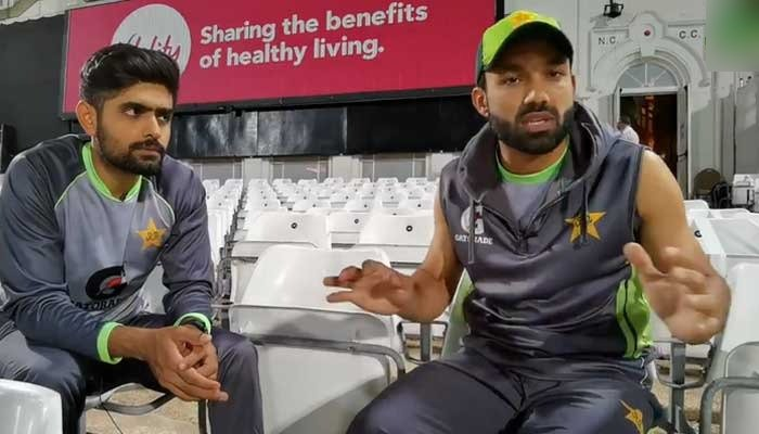 Skipper Babar Azam (left) and wicket-keeper Mohammad Rizwan speaking to Pakistans Cricket Boards YouTube channel. — Twitter/TheRealPCB