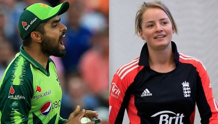 Pakistans skipper Babar Azam (left) and England woman cricket teams opener Danielle Wyatt (right). — AFP/File, Twitter/File