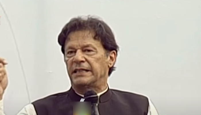 Prime Minister Imran Khan addressing an election rally inAzad Jammu and Kashmirs Bagh, on July 17, 2021. — YouTube/HumNewsLive