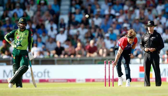 Englands Tom Curran in action during the second Twenty20 International between England and Pakistan, at Headingley, Leeds, Britain, on July 18, 2021. — Action Images via Reuters/Ed Sykes