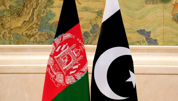 The flags of Pakistan and Afghanistan.