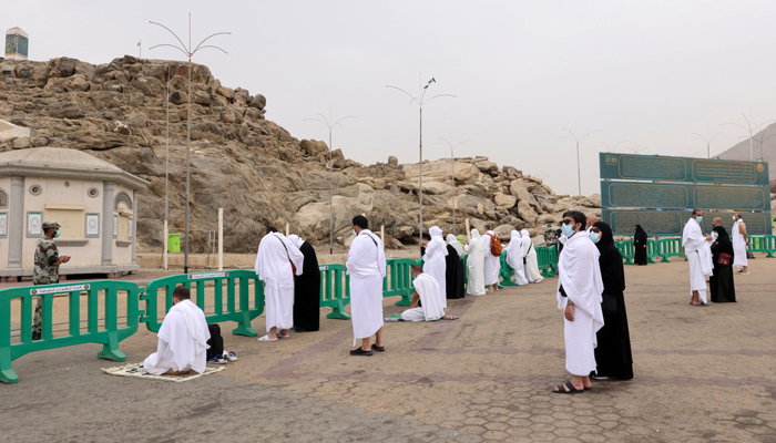 Pilgrims gather at the plain of Arafat during the annual Hajj, outside the holy city of Makkah, Saudi Arabia July 19, 2021. Photo: Reuters