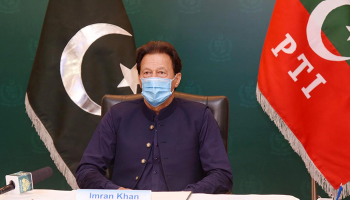 Prime Minister Imran Khan addressing the virtual conference on the Communist Party of China (CPC) and World Political Parties via video link, on June 7, 2021. — INP/File