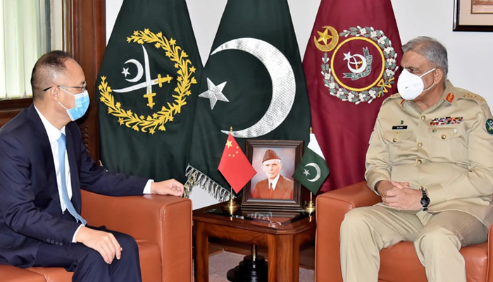 Chief of Army Staff General Qamar Javed Bajwa (right) meetsChinese Ambassador to Pakistan Nong Rong (left) atthe General Headquarters in Rawalpindi, on July 19, 2021. — ISPR