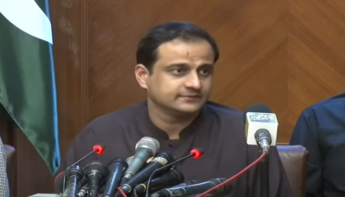 Sindh government spokesperson Murtaza Wahab addressing a press conference in Karachi, on July 19, 2021. — YouTube/HumNewsLive