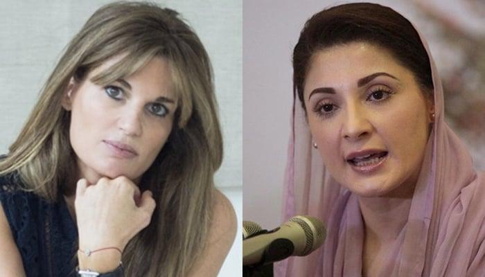 Prime Minister Imran Khan's ex-wife Jemima Goldsmith (left) and PML-N Vice-President Maryam Nawaz (right). — Wikipedia/Reuters/File