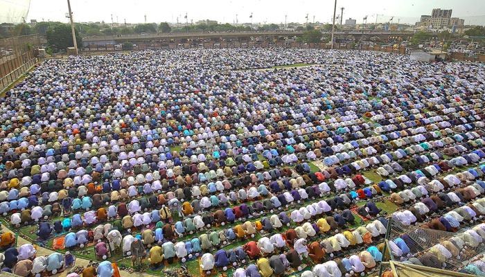 Muslims celebrate Eid-ul-Fitr prayers to mark the end of the holy fasting month of Ramadan, as the outbreak of the coronavirus disease (COVID-19) continued in Karachi, Pakistan May 13, 2021. — INP/File