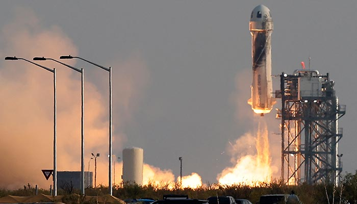 Billionaire businessman Jeff Bezos is launched with three crew members aboard a New Shepard rocket on the worlds first unpiloted suborbital flight from Blue Origins Launch Site 1 near Van Horn, Texas , U.S., July 20, 2021. — Reuters