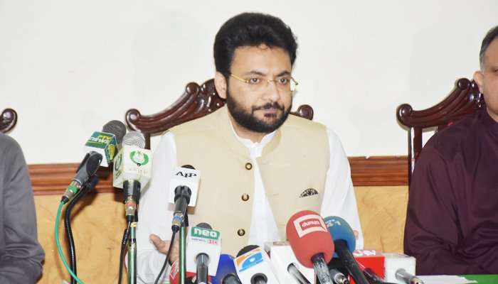 Minister of State for Information Farrukh Habib addressing a press conference in Faisalabad, on July 20, 2021. — PID