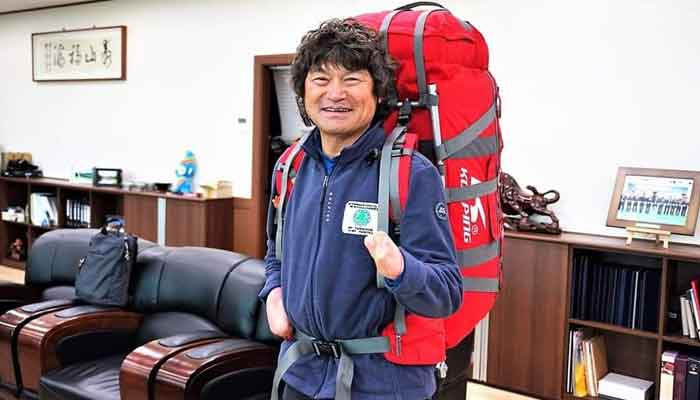 Kim Hong-bin is seen all geared up for a climb, in this photo shared on Twiter by the Alpine Club of Pakistan.
