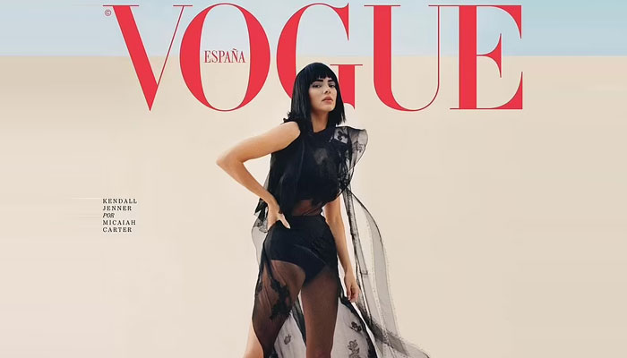 Kendall Jenner stuns in sheer gown with a fringed black wig as she graces a magazine cover