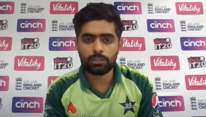 Pakistan skipper Babar Azamspeaking during a post-match press conference in Manchester, on July 21, 2021. — YouTube
