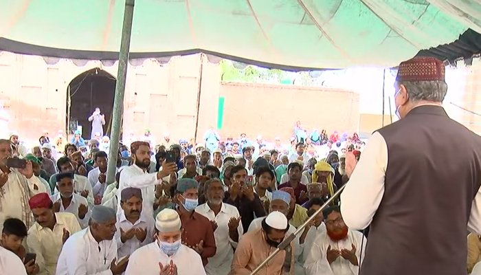 Foreign Minister Shah Mahmood Qureshi praying after Eid ul Adha prayers in Multan, on July 21, 2021. — YouTube