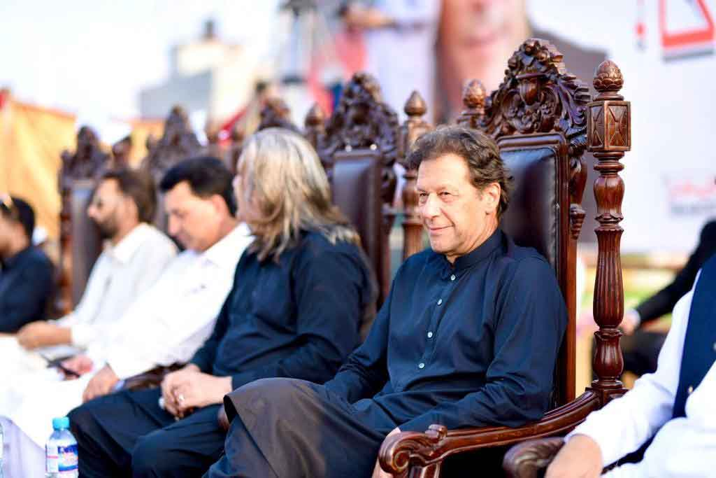 Prime Minister Imran Khan prior to addressing an election campaign rally in Tarar Khal, Azad Jammu and Kashmir, on July 23, 2021. — Geo News