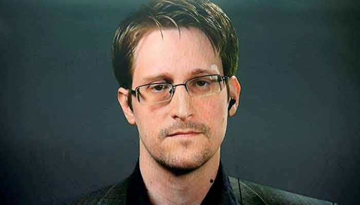 Edward Snowden speaks via video link during a news conference in New York City, US September 14, 2016. — Reuters/Brendan McDermid