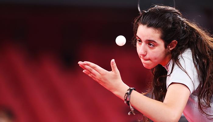 Tokyo 2020 Olympics - Table Tennis - Womens Singles - Preliminary Round - Tokyo Metropolitan Gymnasium - Tokyo, Japan - July 24, 2021. Hend Zaza of Syria in action against Jia Liu of Austria. — Reuters