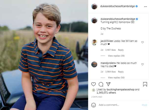 Over 1.3 million people react to Prince Georges picture on Kate Middleton, Williams Insta account