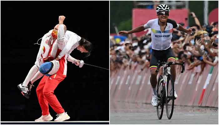 Chinas Sun Yiwen celebrates with her French coach Hugues Obry after winning in the womens epee individual gold medal bout and Ecuadors Richard Carapaz celebrates as he rides to the finish line to win the mens cycling road race during the Tokyo 2020 Olympic Games, Japan, July 24, 2021. — AFP