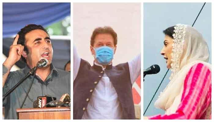 (L-R): PPP Chairman Bilawal Bhutto Zardari, PM Imran Khan, PML-N Vice President Maryam Nawaz. — Photo combo courtesy Twitter/Instagram