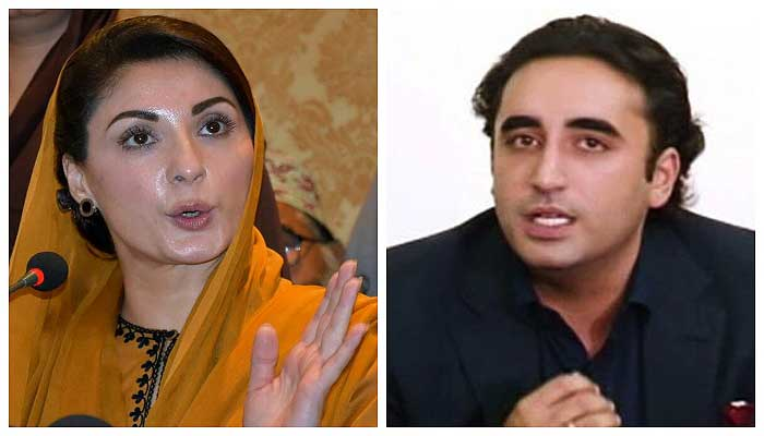 PML-N vice president Maryam Nawaz (L) and PPP Chairman Bilawal Bhutto Zardari (R).