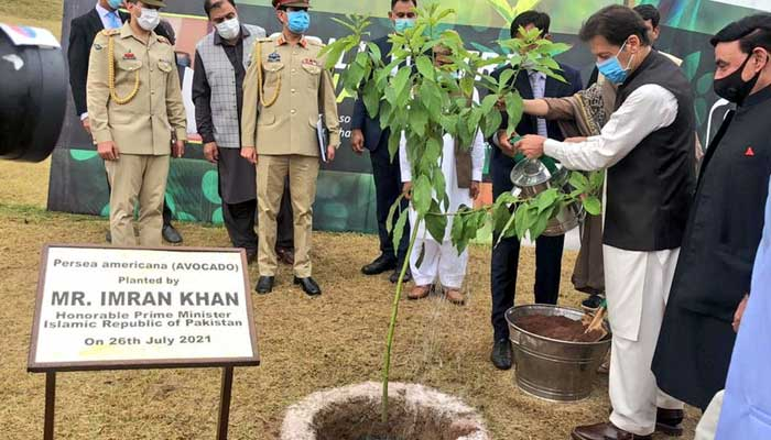 Prime Minister Imran Khan launching monsoon planation drive in Islamabad.