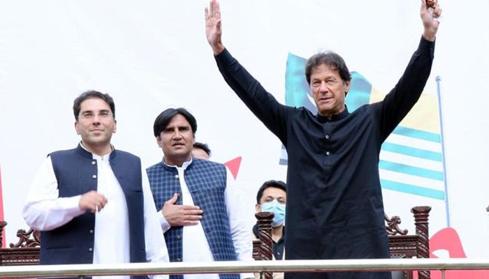 Prime Minister Imran Khan gestures during a rally in Azad Jammu and Kashmirs Tarar Khal on July 23, 2021. — PID/File