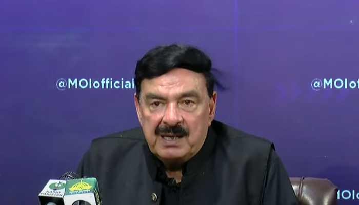 Minister for Interior Sheikh Rasheed speaking at a press conference in Islamabad, on July 26, 2021. — YouTube/HumNewsLive